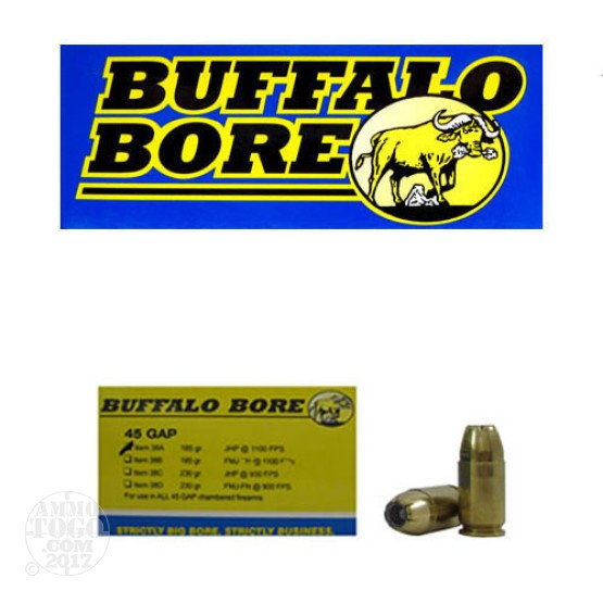 20rds - 45 GAP Buffalo Bore 185gr. JHP Ammo