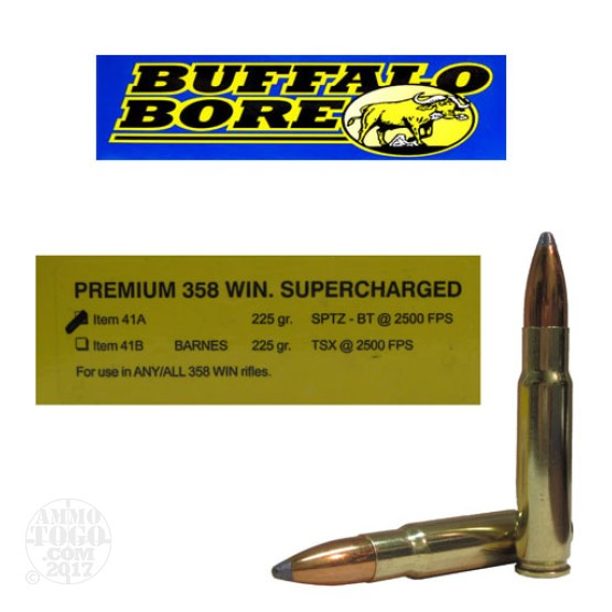 200rds - .358 Win. Premium Supercharged Buffalo Bore 225gr. Soft Point BT Ammo
