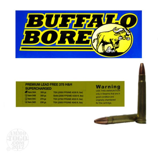 20rds - 375 H&H Mag. Supercharged Buffalo Bore 300gr. Barnes TSX HP Ammo
