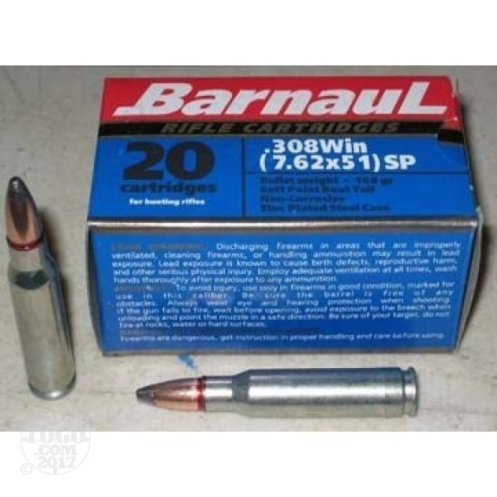 1000rds - .308 Barnaul 168gr. Soft Point Ammo