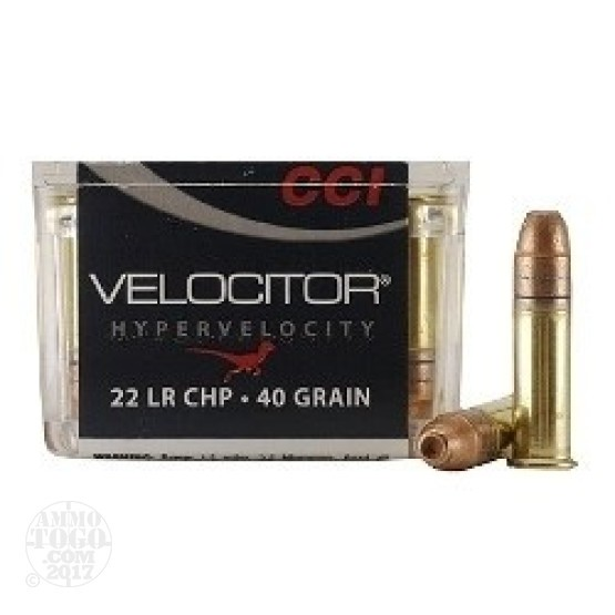 50rds - 22LR CCI Velocitor 40gr. Hyper Velocity Hollow Point Ammo