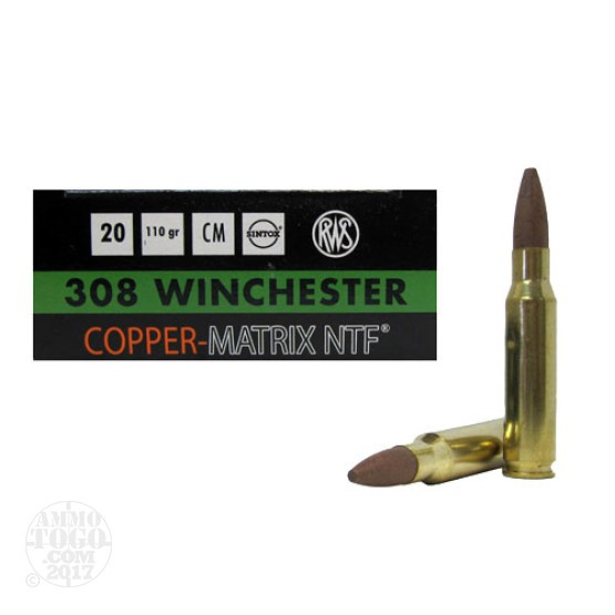 20rds - 308 Win. RWS 110gr. Non-Toxic Lead Free Frangible Ammo