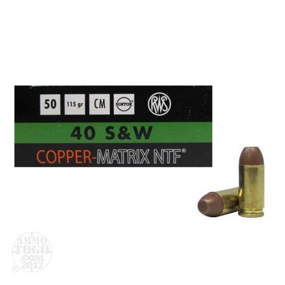 50rds - 40 S&W RWS 115gr. Non-Toxic Lead Free Frangible Ammo