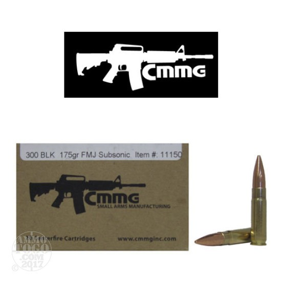 200rds - .300 AAC BLACKOUT CMMG 175gr. Subsonic FMJ Ammo