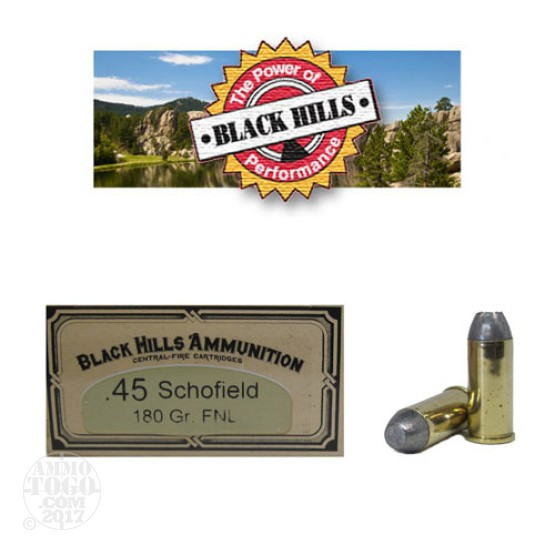 50rds - 45 Schofield Black Hills 180gr. Flat Nose Lead Ammo
