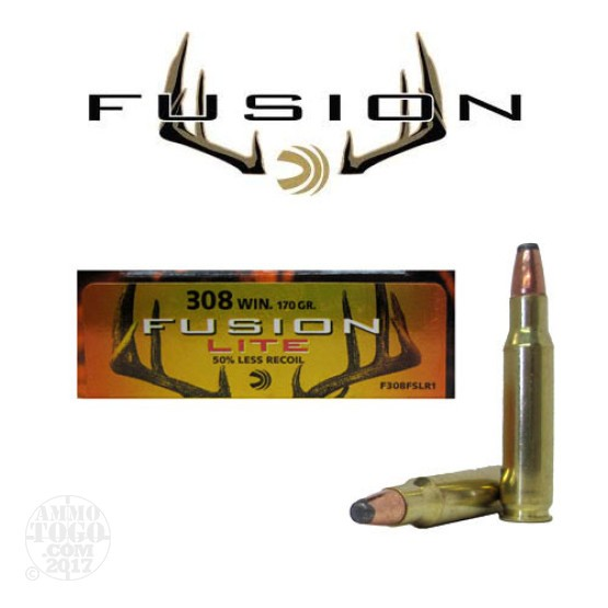 20rds - 308 Federal Fusion Lite 170gr. SP Ammo