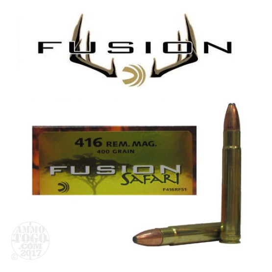20rds - 416 Rem. Mag. Federal Fusion Safari 400gr. SP Ammo