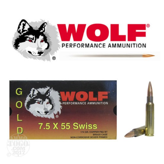 100rds - 7.5 Swiss Wolf Gold 174gr. FMJ Boattail Ammo