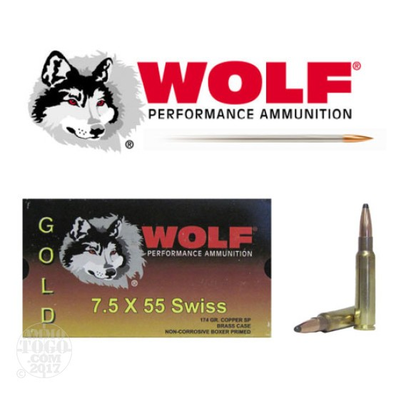 100rds - 7.5 Swiss Wolf Gold 174gr. Copper Soft Point Ammo
