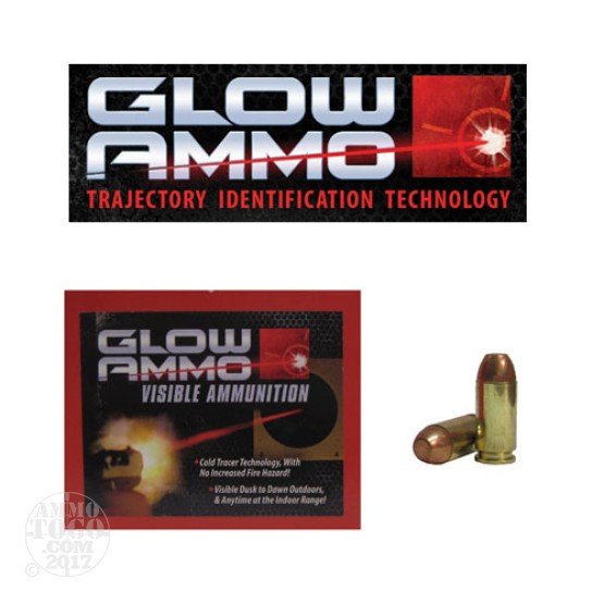 20rds - 40 S&W Glow Ammo 180gr Flat Point FMJ Visible Ammo