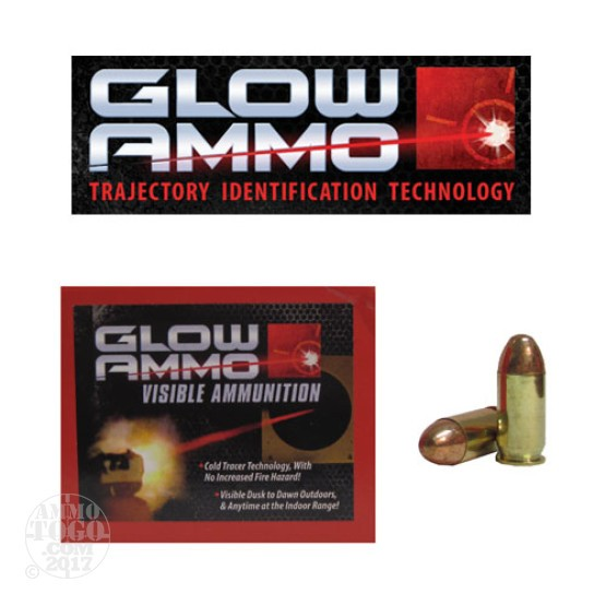 20rds - 45 ACP Glow Ammo 230gr Round Nose FMJ Visible Ammo
