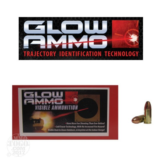 50rds - 9mm Glow Ammo 124gr Round Nose FMJ Visible Ammo