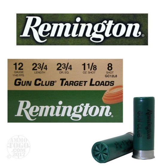 "250rds - 12 Gauge Remington Gun Club 2 3/4"" 1 1/8oz. #8 Shot Ammo"