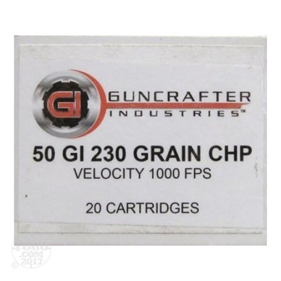 20rds - 50 GI Guncrafter 230gr. Copper Hollow Point Ammo