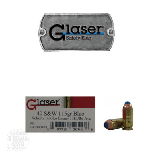 20rds - 40 S&W Glaser Blue Safety Slug 115gr. Ammo