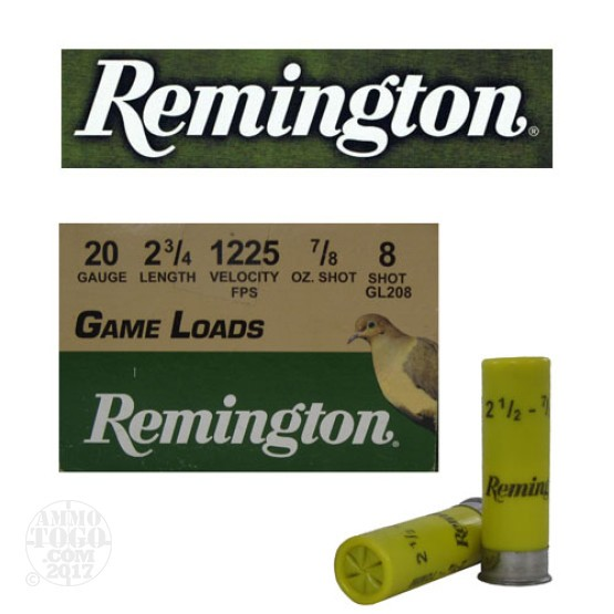 "250rds - 20 Gauge Remington Game Load 2 3/4"" 7/8oz. #8 Shot Ammo"