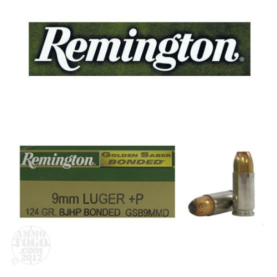 50rds - 9mm Remington Golden Saber Bonded 124gr. +P JHP Ammo