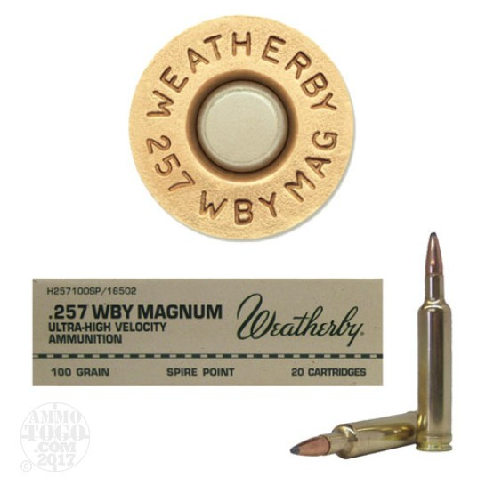 20rds - 257 Weatherby Mag. 100gr. Spire Point Ammo