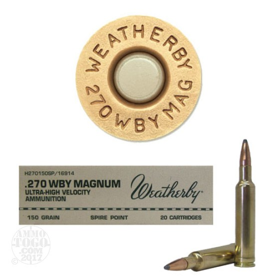 20rds - 270 Weatherby Mag. 150gr. Spire Point Ammo