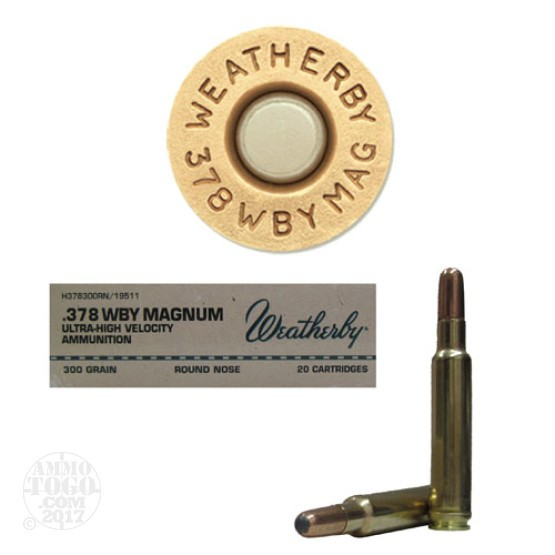 20rds - 378 Weatherby Mag. 300gr. Round Nose Soft Point Ammo
