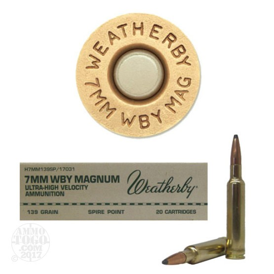 20rds - 7mm Weatherby Mag. 139gr. Spire Point Ammo