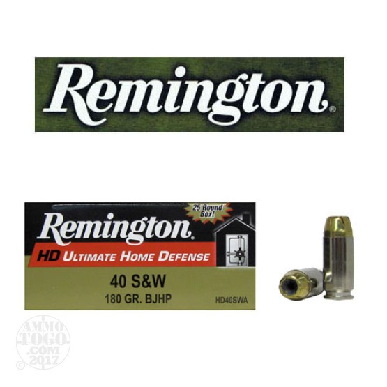 25rds - 40 S&W Remington Ultimate Home Defense 180gr. BJHP Ammo