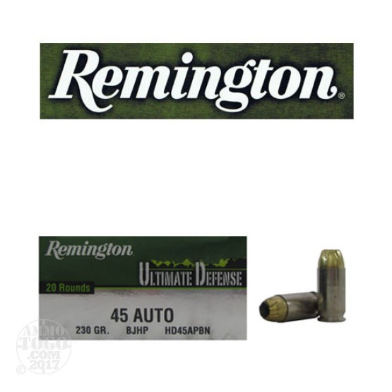 20rds - 45 ACP Remington Ultimate Defense 230gr. BJHP Ammo