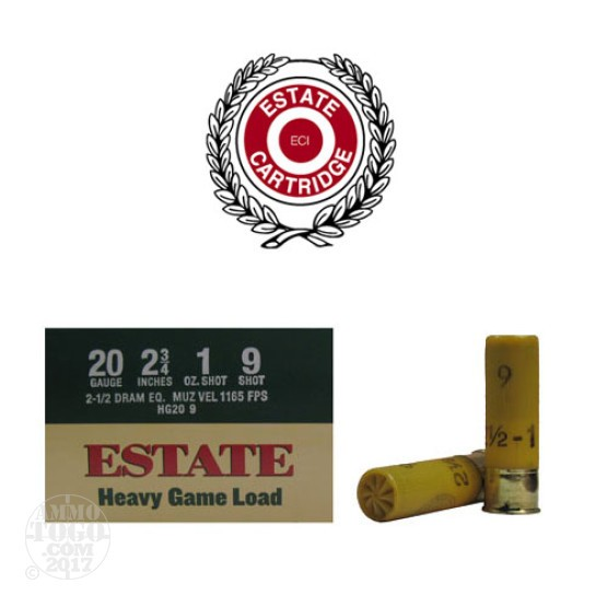 "25rds - 20 Gauge Estate Heavy Game Load 2 3/4"" 1oz. #9 Shot Ammo"