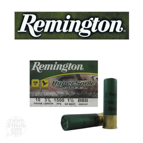 "25rds - 10 Gauge Remington HyperSonic Steel 3 1/2"" 1 1/2oz. #BBB Shot Ammo"