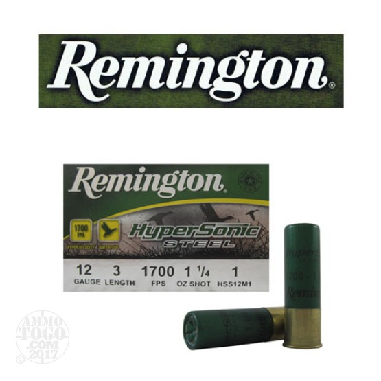 "25rds - 12 Gauge Remington HyperSonic Steel 3"" 1 1/4oz. #1 Shot Ammo"