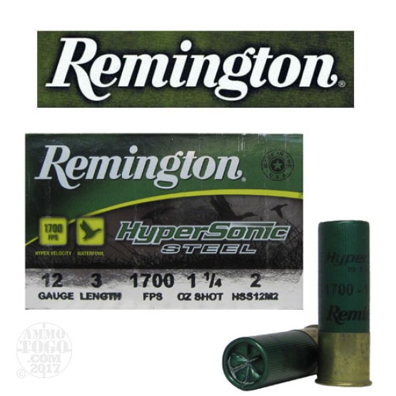 "25rds - 12 Ga. Remington HyperSonic 3"" 1 1/4oz #2 Non-Toxic Steel Shot Ammo"