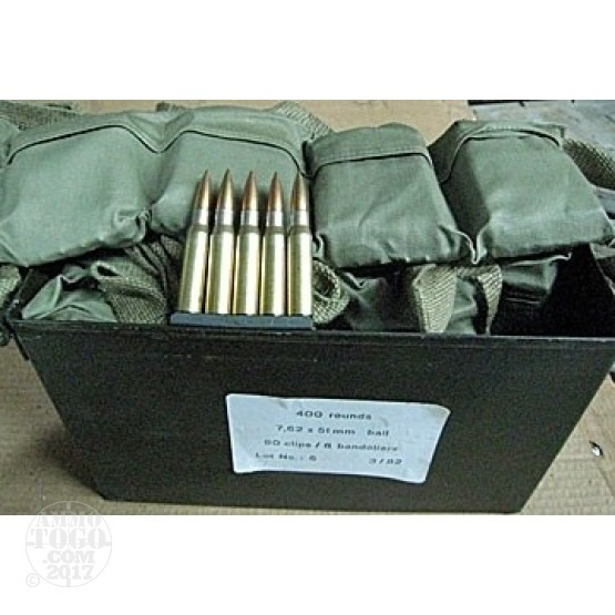 400rds - .308 German Military 147gr. FMJ Ammo on stripper clips