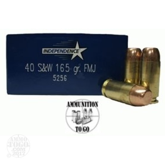 50rds - 40 S&W Independence 165gr. FMJ Ammo