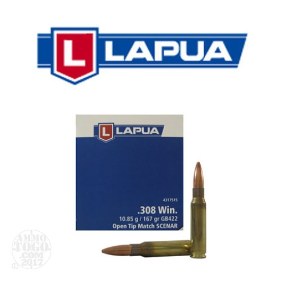50rds - 308 Win. Lapua 167gr. Scenar Hollow Point Boat Tail Ammo