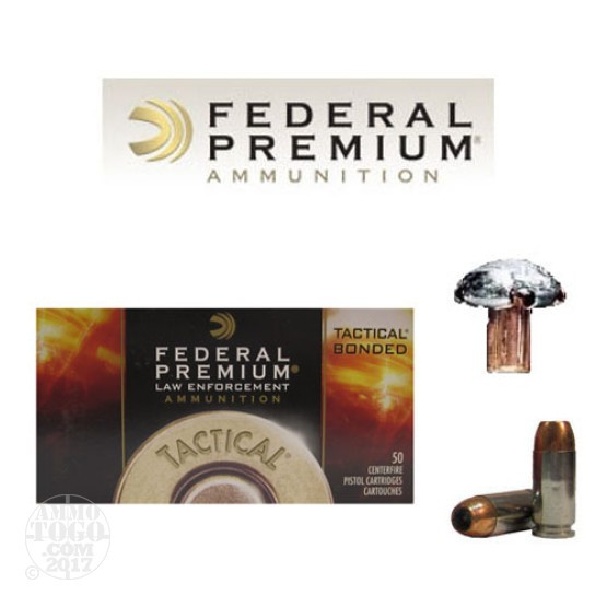 50rds - 40 S&W Federal LE Tactical Bonded 180gr. HP Ammo