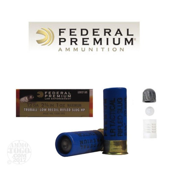 25rds - 12 Gauge Federal LE Tactical Low Recoil TRUBALL Rifled Slug
