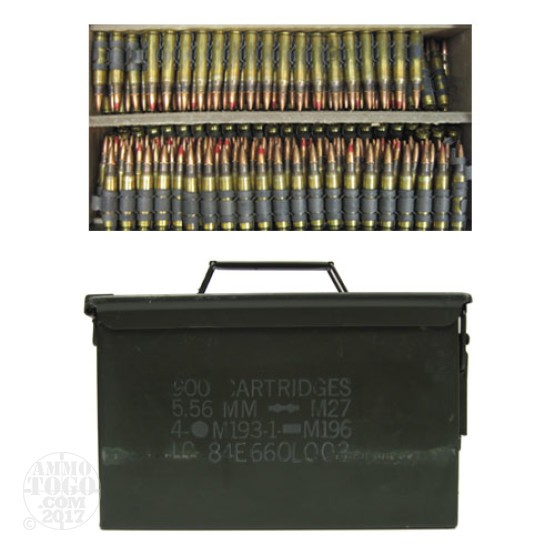 900rds - 5.56 Federal Lake City 55gr. FMJ Ball and Tracer M-27 Linked Ammo