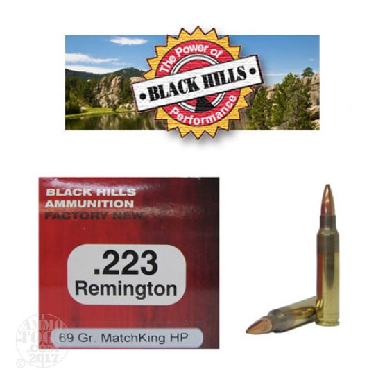500rds - 223 Black Hills 69gr. Sierra MatchKing Hollow Point Ammo