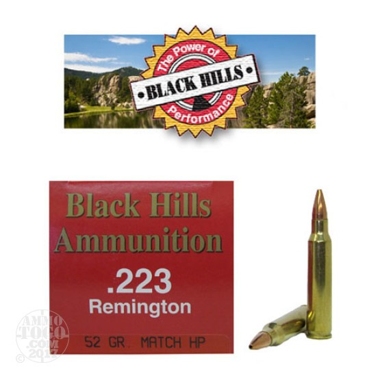 1000rds - 223 Black Hills 52gr. Match Hollow Point Ammo