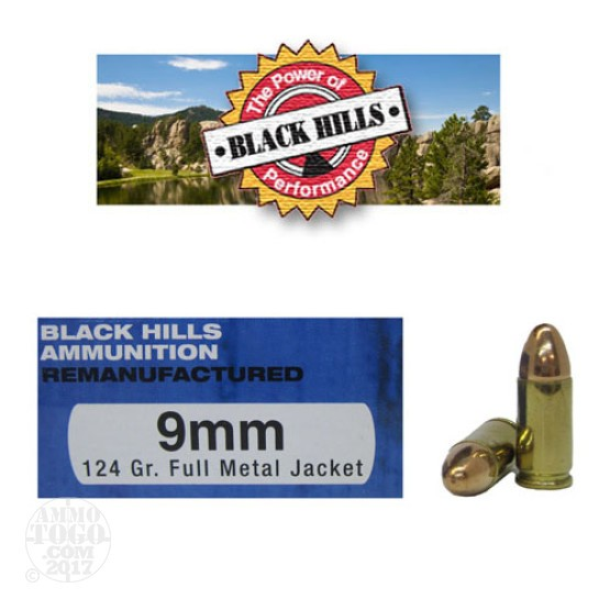 500rds - 9mm Black Hills 124gr. Remanufactured Full Metal Jacket Ammo