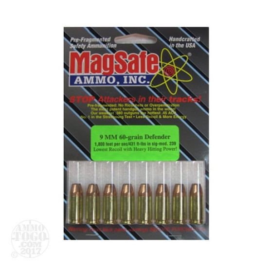 8rds - 9mm Magsafe 60gr. Defender Ammo