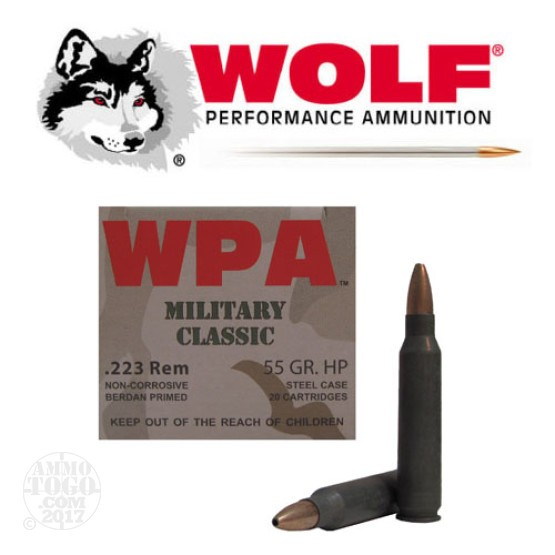 1000rds - 223 WPA Military Classic 55gr. HP Ammo