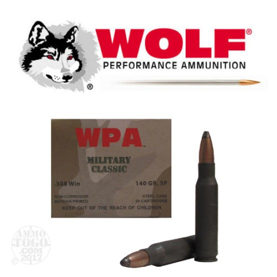 20rds - 308 WPA Military Classic 140gr. SP Ammo