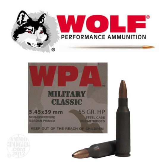 30rds - 5.45x39 WPA Military Classic 55gr. HP Ammo