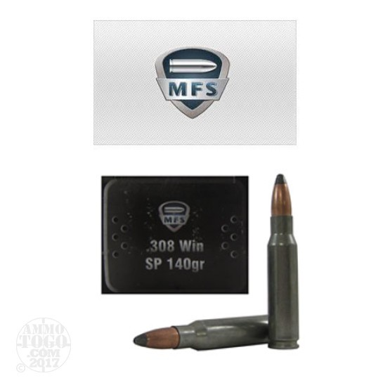 20rds - 308 Win MFS 140gr. Steel Cased Zinc Plated SP Ammo