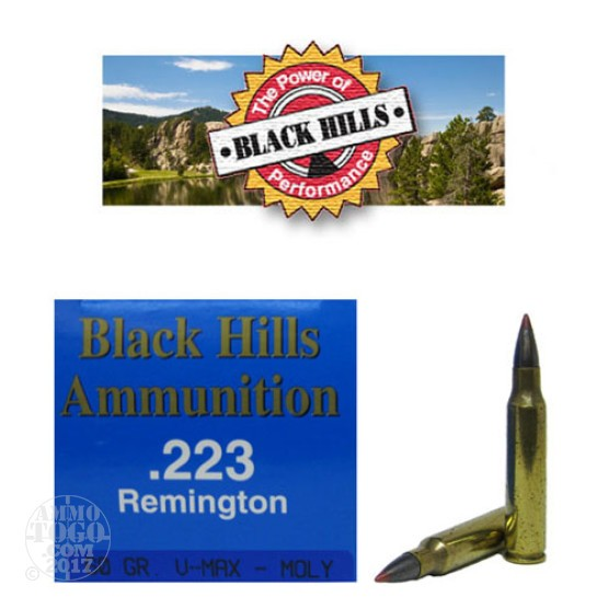 50rds - 223 Black Hills 60gr. Remanufactured V-Max Moly Coated Ammo
