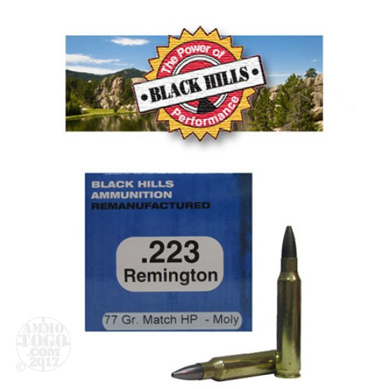 1000rds - 223 Black Hills 77gr. Re-Mfg. Sierra MatchKing HP Moly Coated Ammo