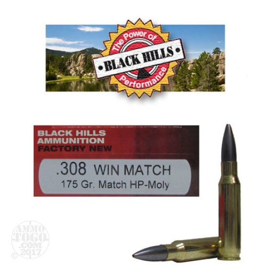 20rds - 308 Black Hills 175gr. Match Moly Coated Boat-Tail Hollow Point Ammo