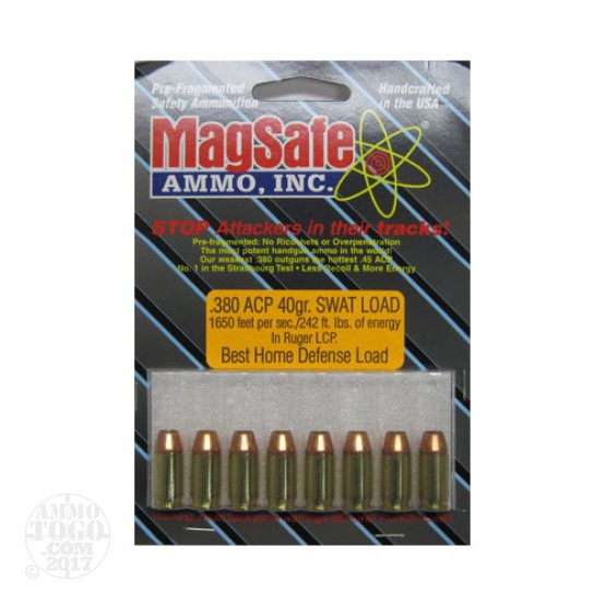 8rds - 380 ACP Magsafe 40gr. SWAT Load Ammo