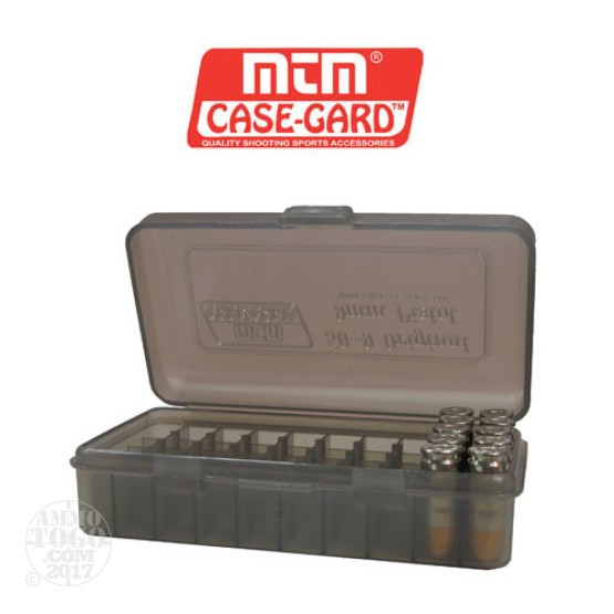 1 - MTM Case-Gard Original Series 50rd. Pistol Ammo Box for 9mm - .380 Smoke Color
